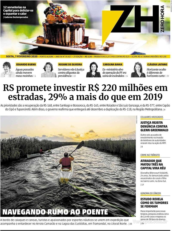Capa do jornal Zero Hora 07/02/2020