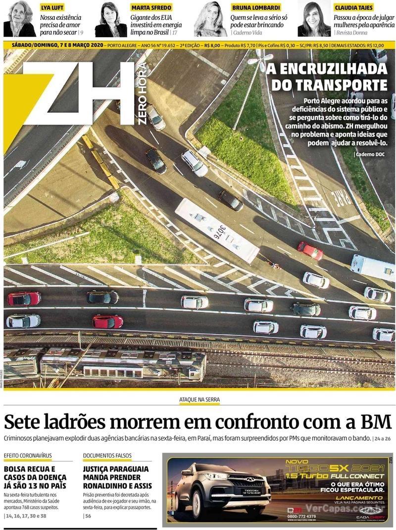 Capa do jornal Zero Hora 07/03/2020