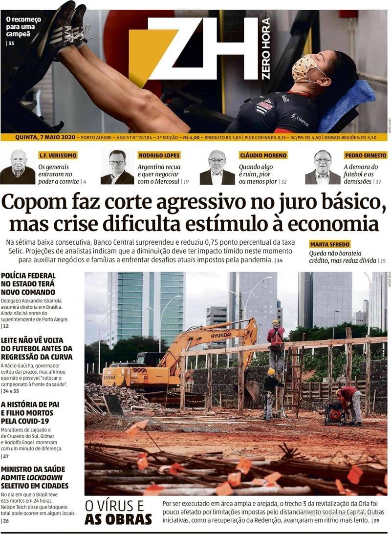 Capa do jornal Zero Hora 07/05/2020