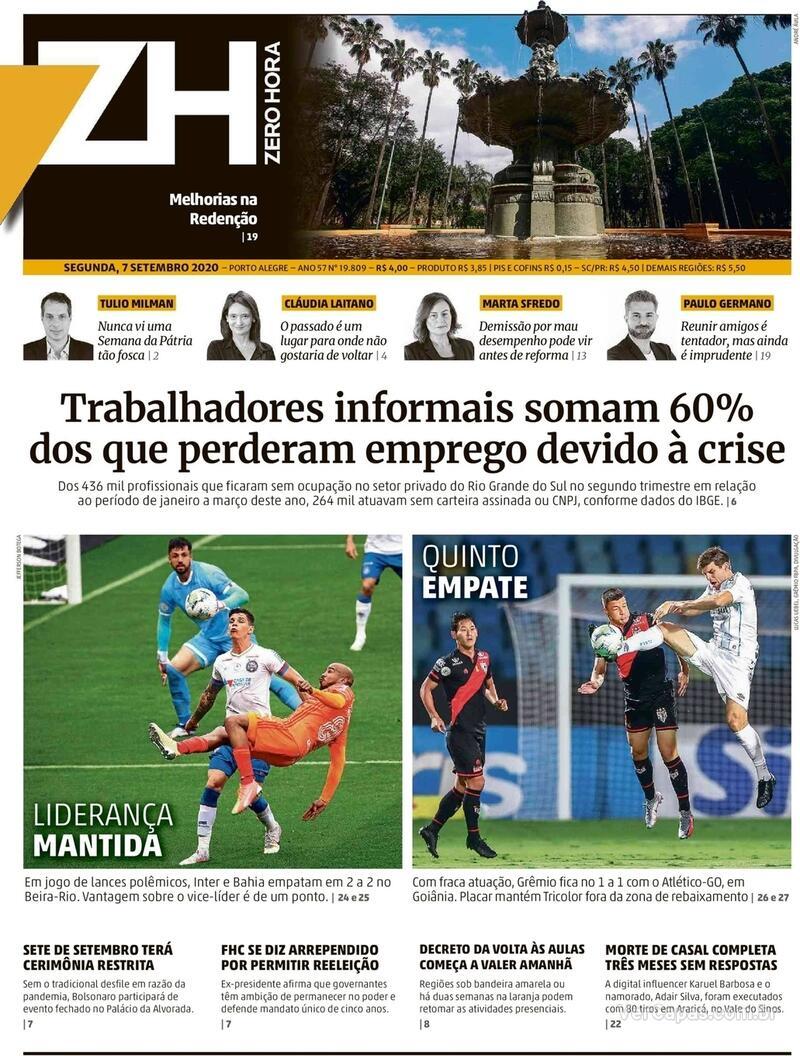 Capa do jornal Zero Hora 07/09/2020