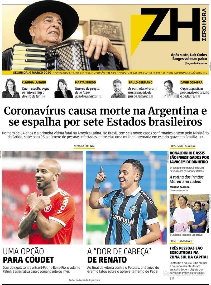 Capa do jornal Zero Hora 09/03/2020