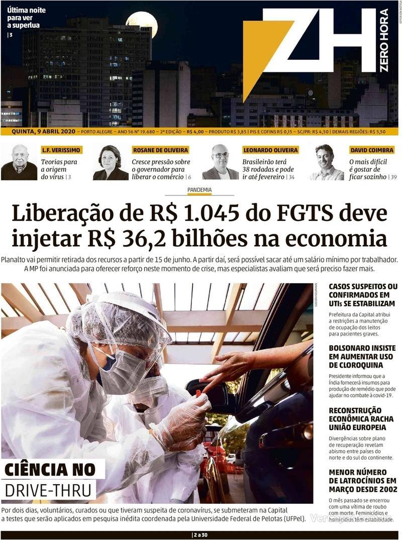 Capa do jornal Zero Hora 09/04/2020