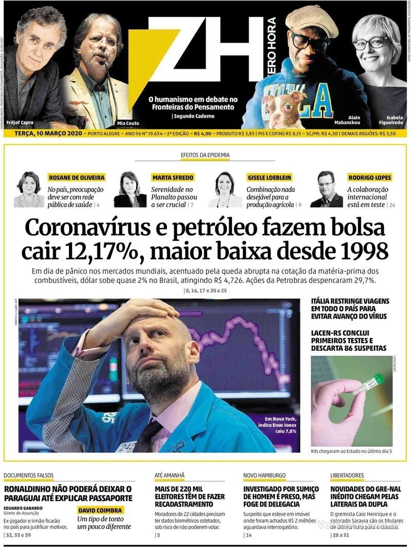 Capa do jornal Zero Hora 10/03/2020
