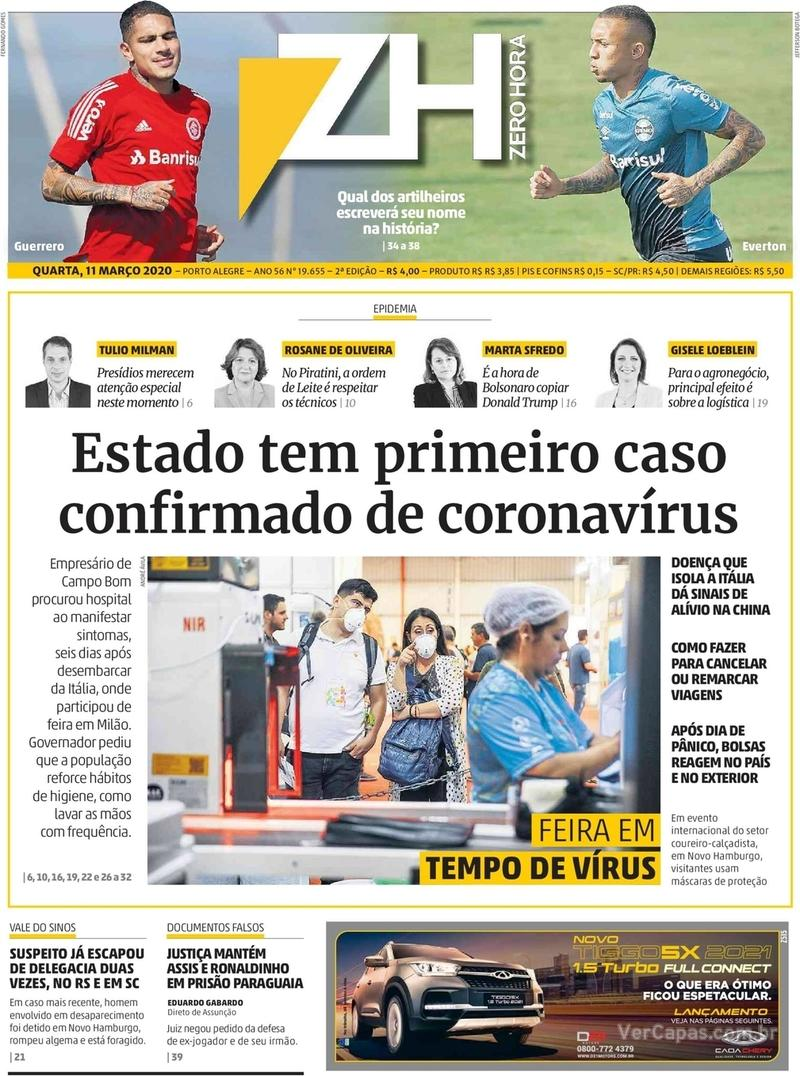 Capa do jornal Zero Hora 11/03/2020