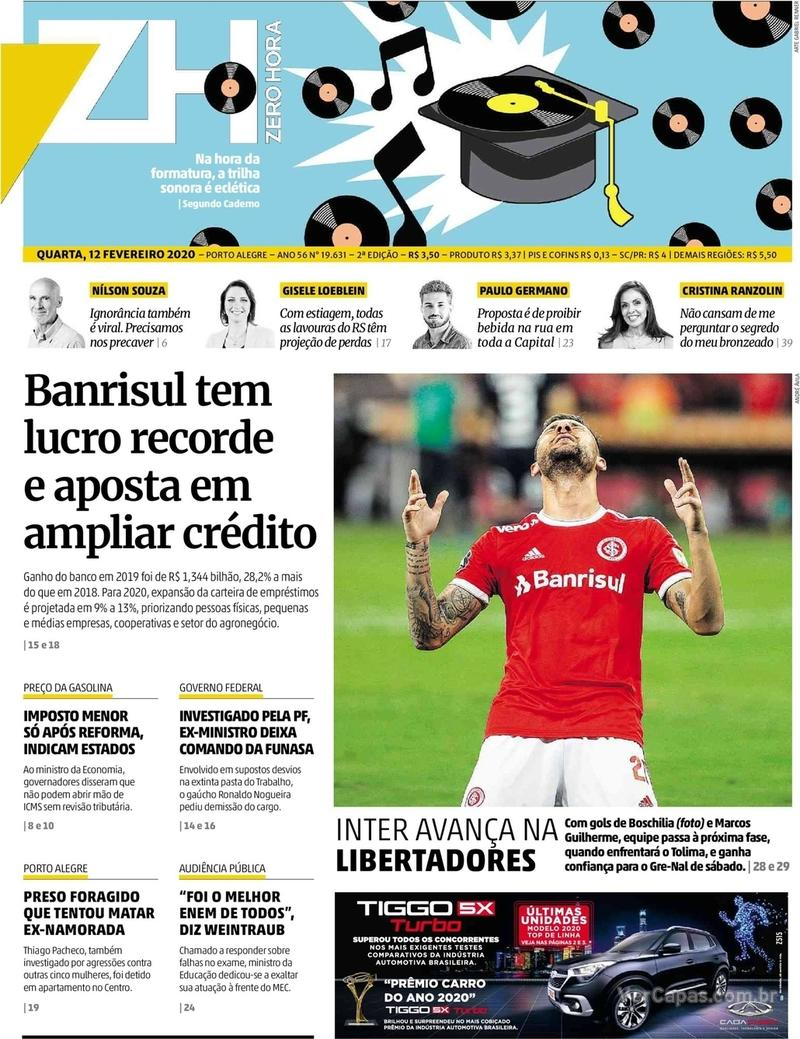 Capa do jornal Zero Hora 12/02/2020