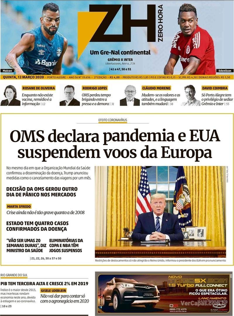 Capa do jornal Zero Hora 12/03/2020