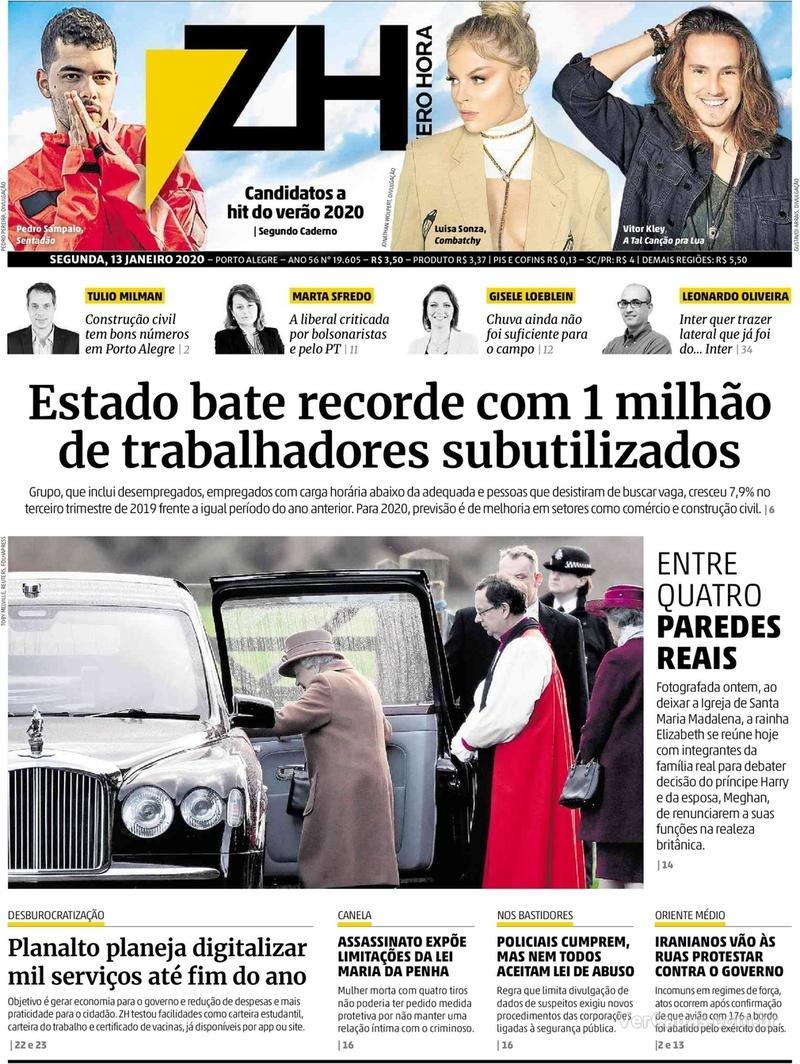 Capa do jornal Zero Hora 13/01/2020