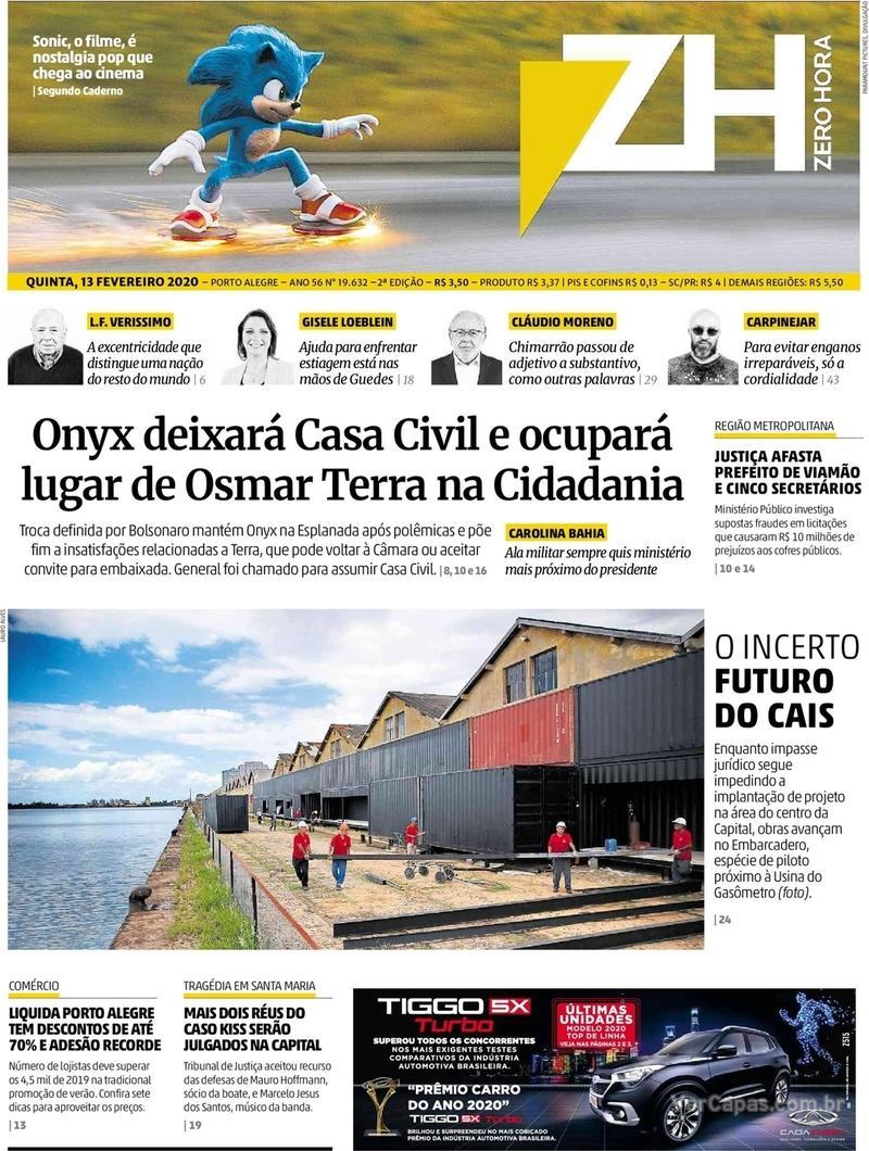 Capa do jornal Zero Hora 13/02/2020