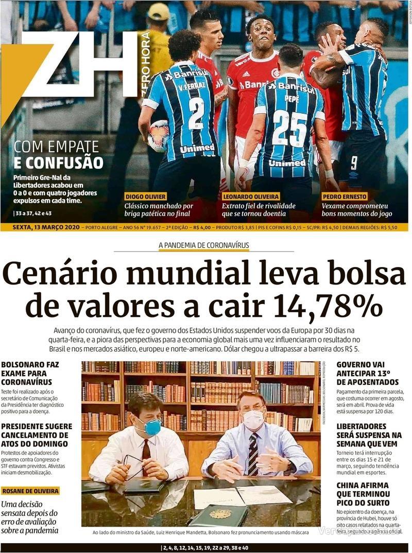 Capa do jornal Zero Hora 13/03/2020
