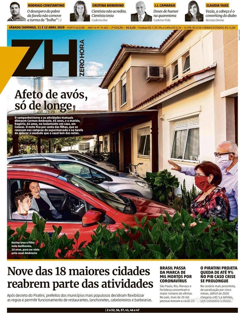 Capa do jornal Zero Hora 13/04/2020