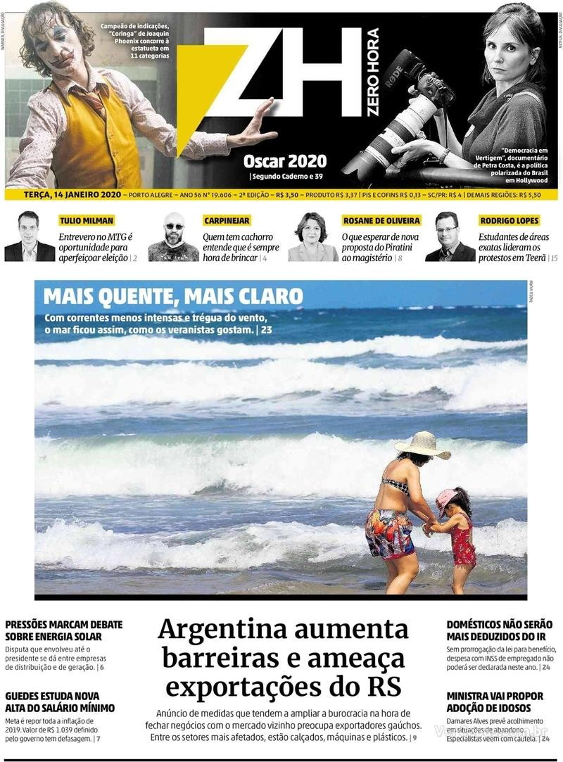 Capa do jornal Zero Hora 14/01/2020