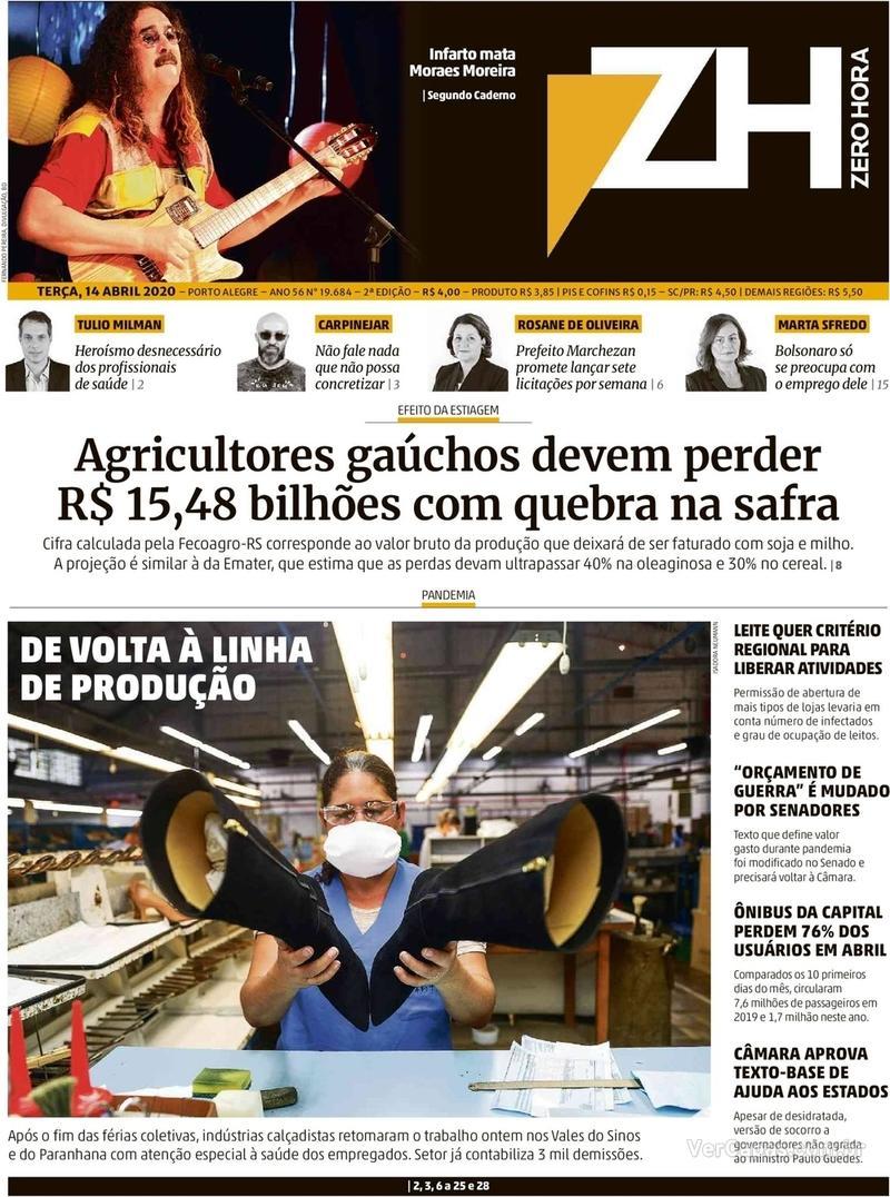Capa do jornal Zero Hora 14/04/2020