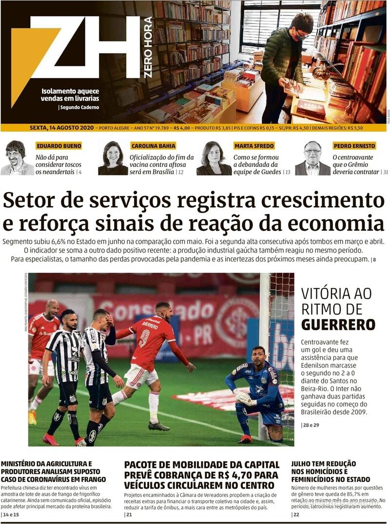 Capa do jornal Zero Hora 14/08/2020