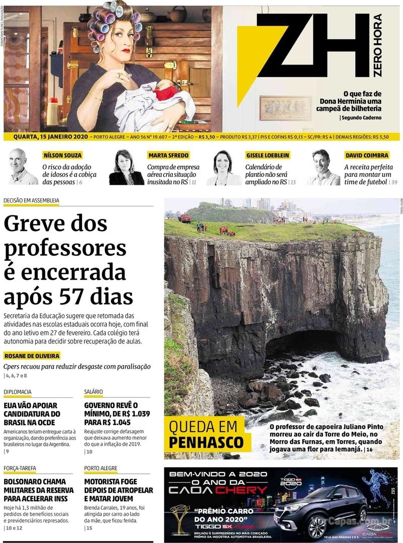 Capa do jornal Zero Hora 15/01/2020