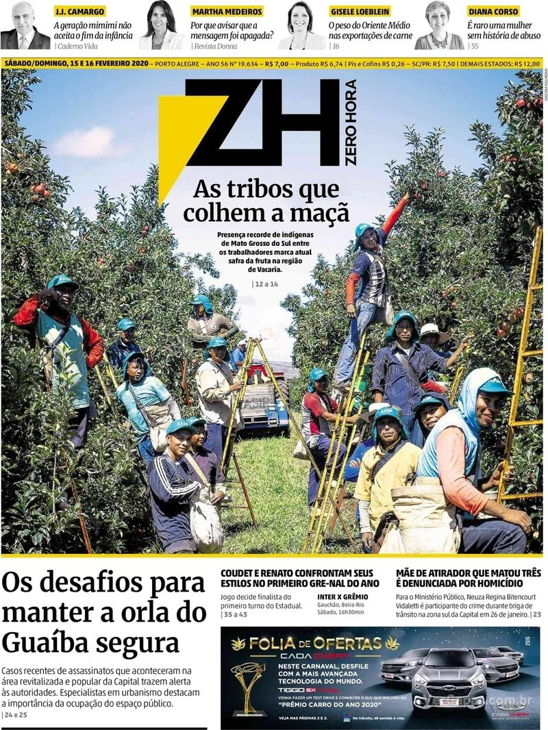 Capa do jornal Zero Hora 15/02/2020