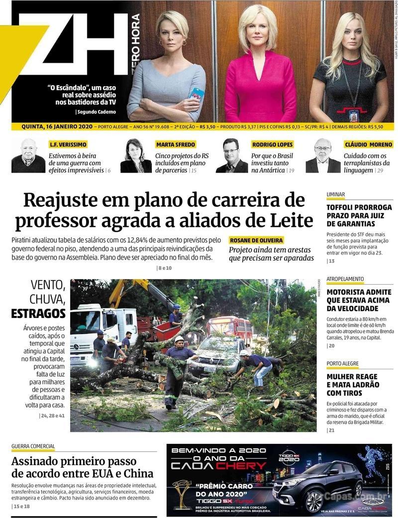 Capa do jornal Zero Hora 16/01/2020
