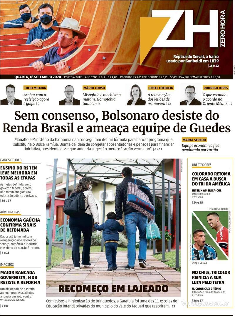 Capa do jornal Zero Hora 16/09/2020