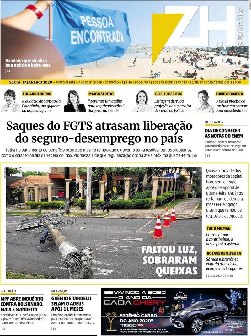 Capa do jornal Zero Hora 17/01/2020