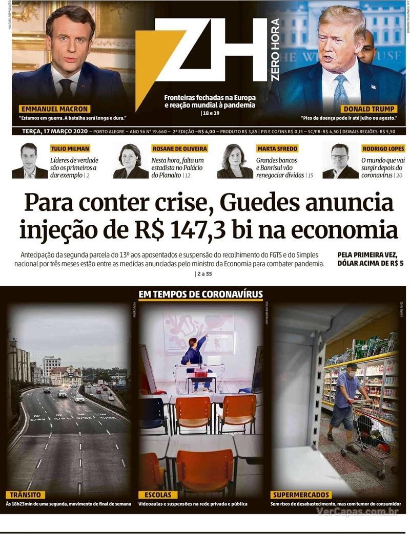 Capa do jornal Zero Hora 17/03/2020