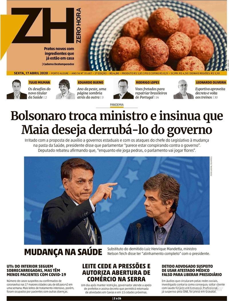 Capa do jornal Zero Hora 17/04/2020