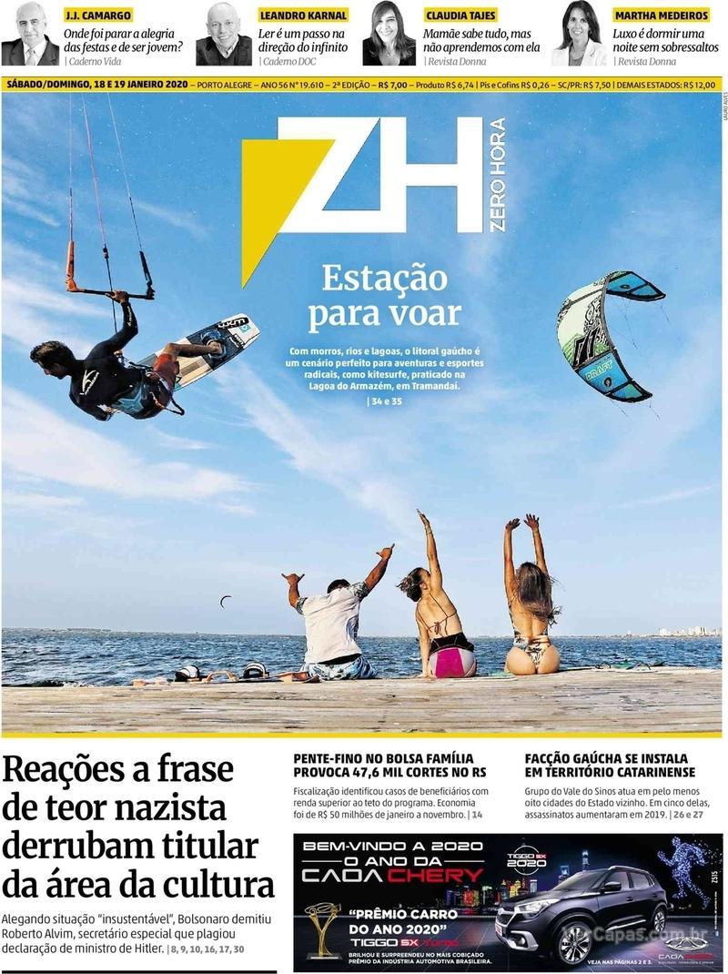 Capa do jornal Zero Hora 18/01/2020