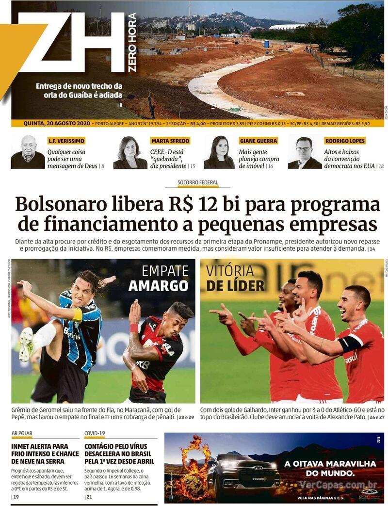Capa do jornal Zero Hora 20/08/2020