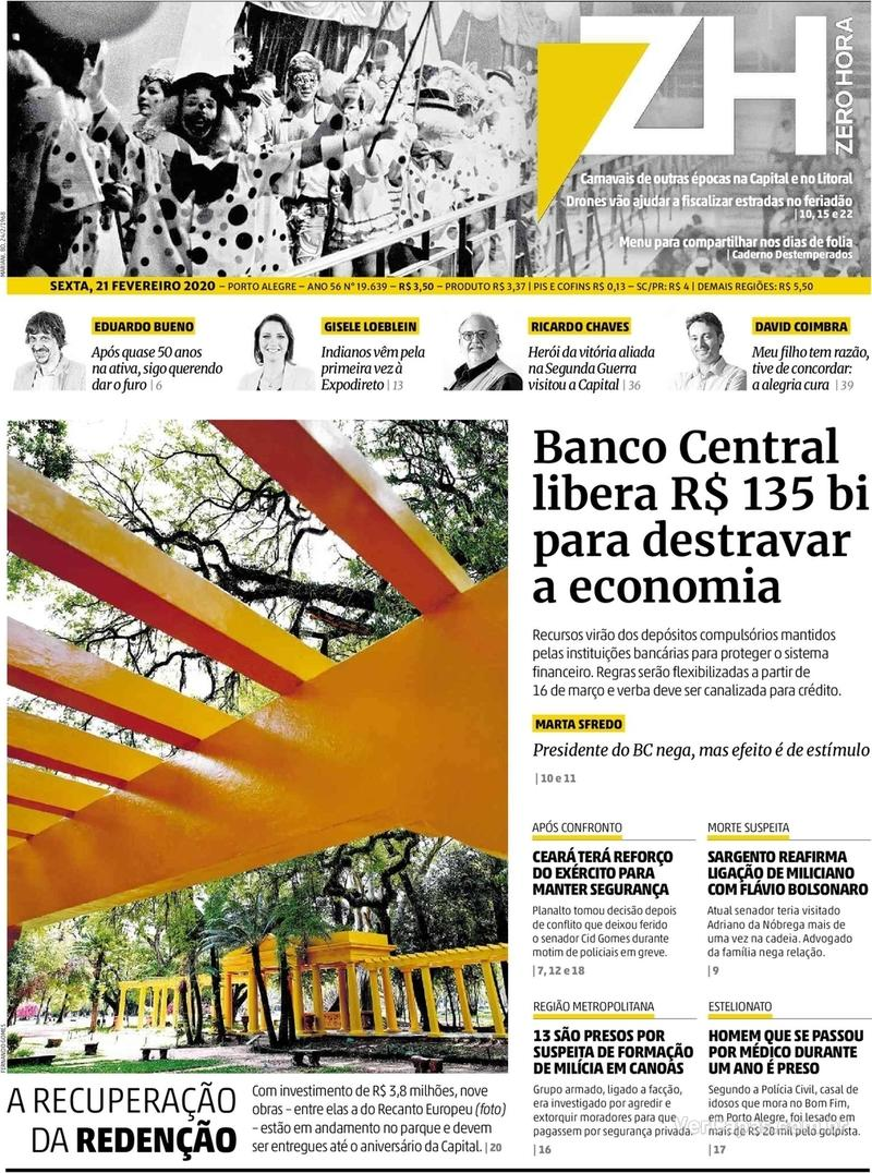Capa do jornal Zero Hora 21/02/2020