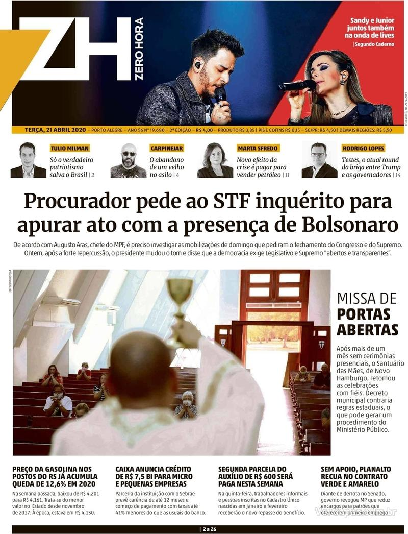 Capa do jornal Zero Hora 21/04/2020