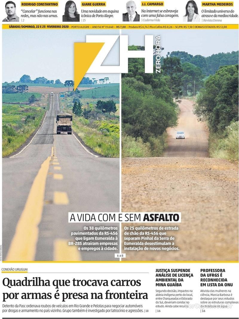 Capa do jornal Zero Hora 22/02/2020