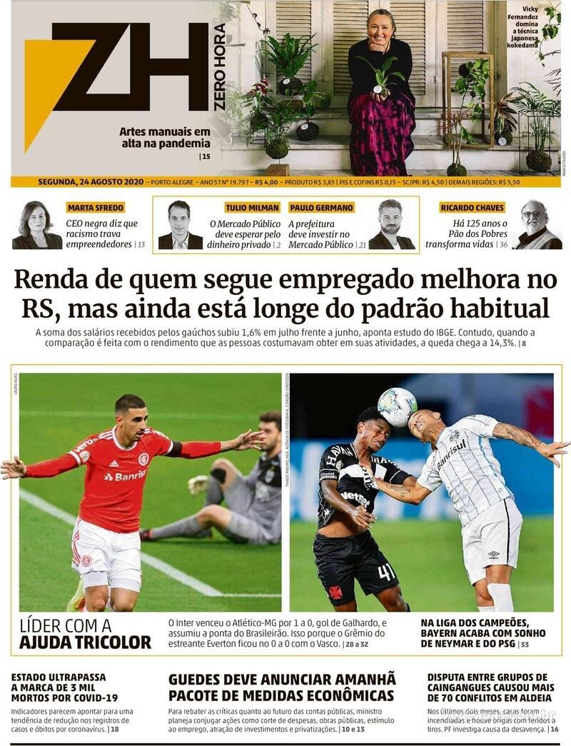 Capa do jornal Zero Hora 24/08/2020
