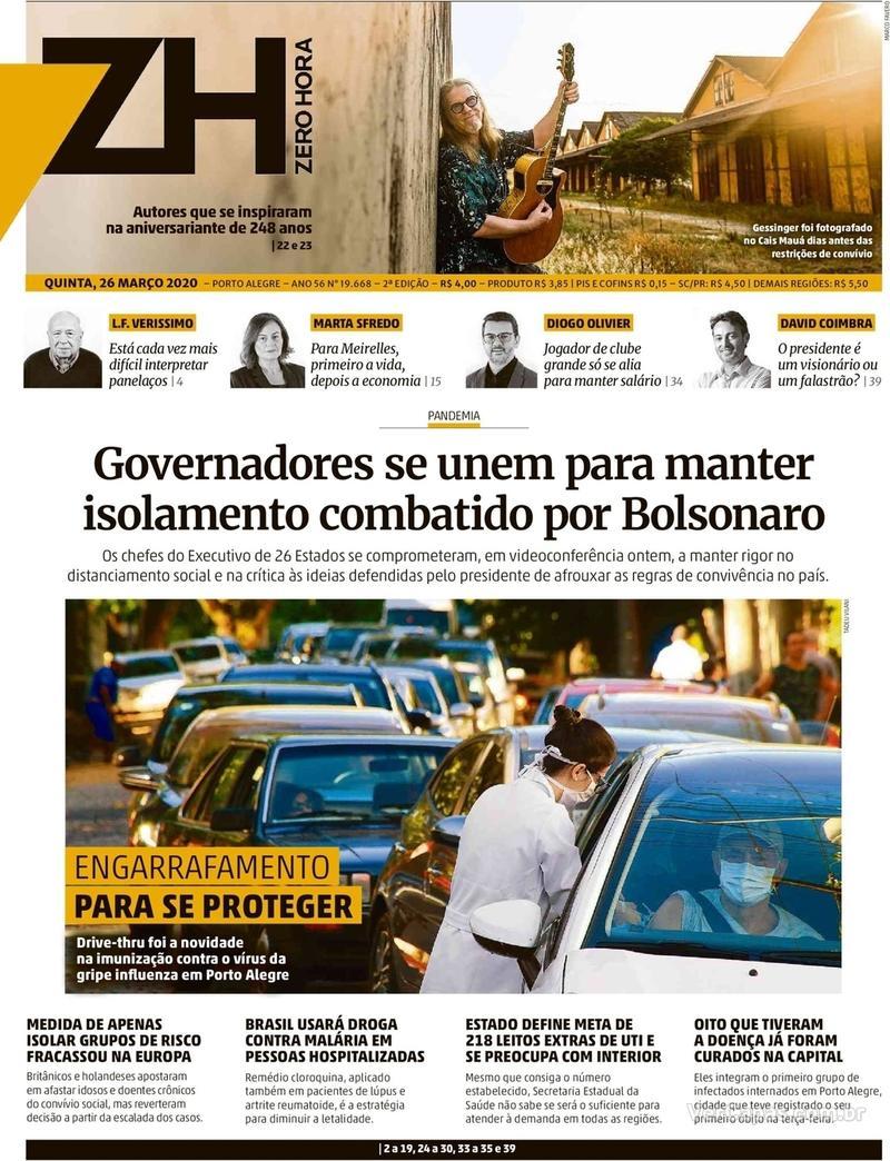 Capa do jornal Zero Hora 26/03/2020