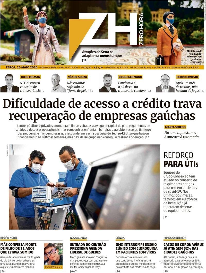 Capa do jornal Zero Hora 26/05/2020