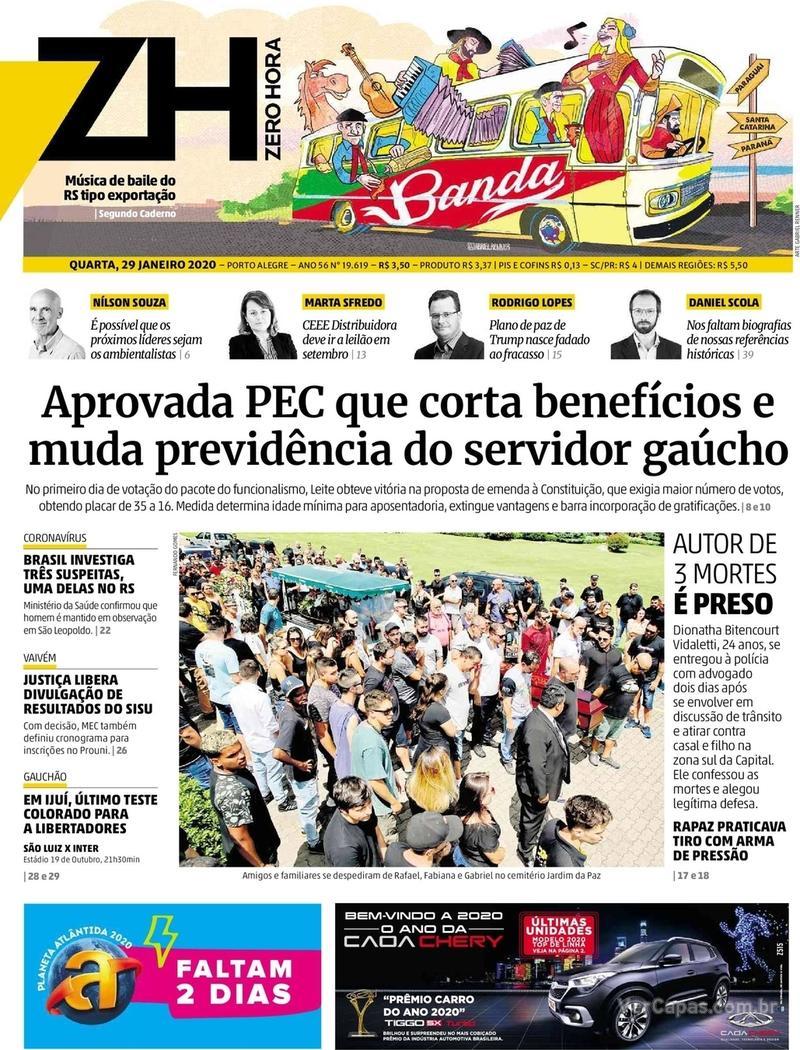 Capa do jornal Zero Hora 29/01/2020