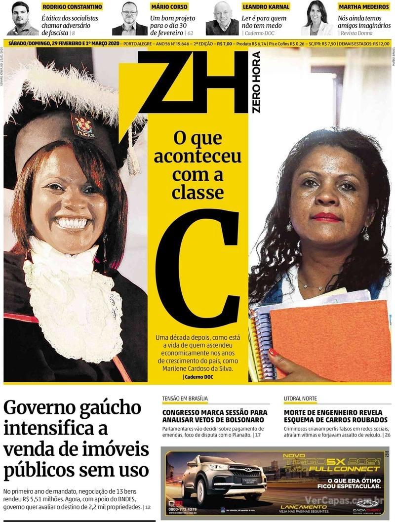 Capa do jornal Zero Hora 29/02/2020