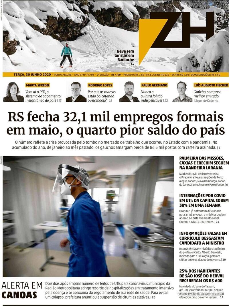Capa do jornal Zero Hora 30/06/2020