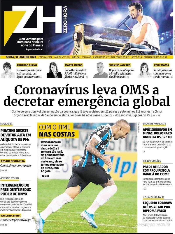 Capa do jornal Zero Hora 31/01/2020