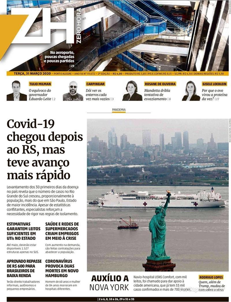 Capa do jornal Zero Hora 31/03/2020