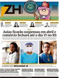 Capa do jornal Zero Hora 01/04/2020