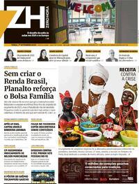 Capa do jornal Zero Hora 01/09/2020