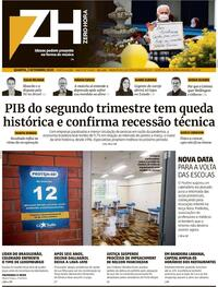 Capa do jornal Zero Hora 02/09/2020