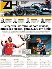 Capa do jornal Zero Hora 03/08/2020