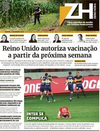 Capa do jornal Zero Hora 03/12/2020