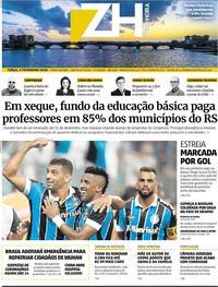 Capa do jornal Zero Hora 04/02/2020