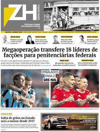 Capa do jornal Zero Hora 04/03/2020
