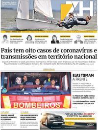 Capa do jornal Zero Hora 06/03/2020