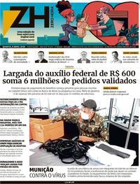 Capa do jornal Zero Hora 08/04/2020