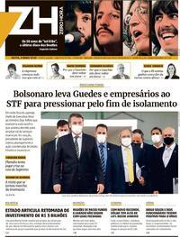 Capa do jornal Zero Hora 08/05/2020