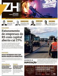 Capa do jornal Zero Hora 08/09/2020