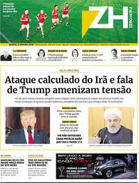Capa do jornal Zero Hora 09/01/2020