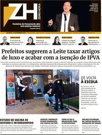 Capa do jornal Zero Hora 09/09/2020